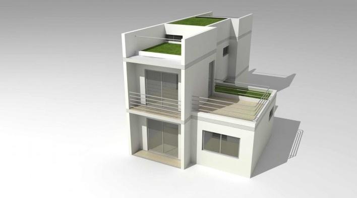 Maquete eletrônica da tipologia de 2 dormitórios com acréscimo de quarto e banheiro acessíveis. Concurso Habitação para Todos.CDHU.Sobrados - 2º Lugar.<br />Autores do projeto  [equipe premiada]