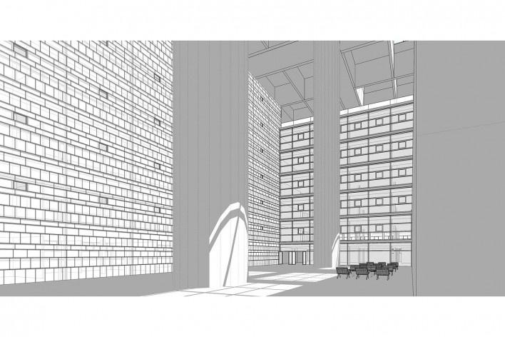 Caja Granada, Granada, Andaluzia, Espanha, 2001. Arquiteto Alberto Campo Baeza<br />Modelo tridimensional Miguel Pastore Bernardi / Imagem Edson da Cunha Mahfuz