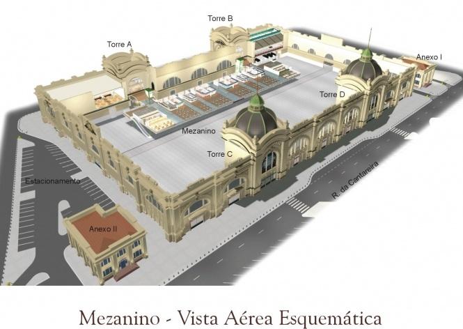 Mezanino. Vista aérea esquemática<br />Imagem do autor do projeto