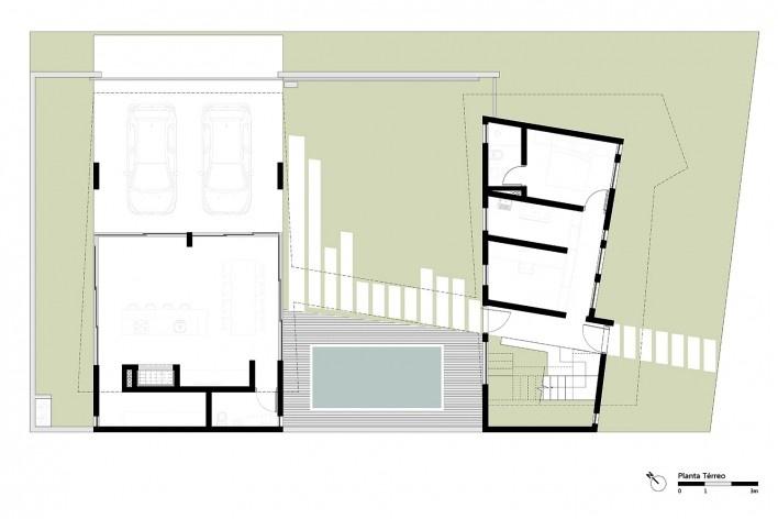 Casa 2V, planta térreo, Porto Alegre RS Brasil, 2013. Arquitetos Diego Brasil e Anderson Calvi / BR3 Arquitetos<br />Imagem divulgação  [BR3 Arquitetos]