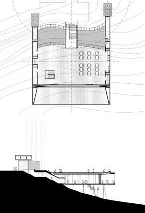 Salão – planta e corte<br />Imagem dos autores do projeto