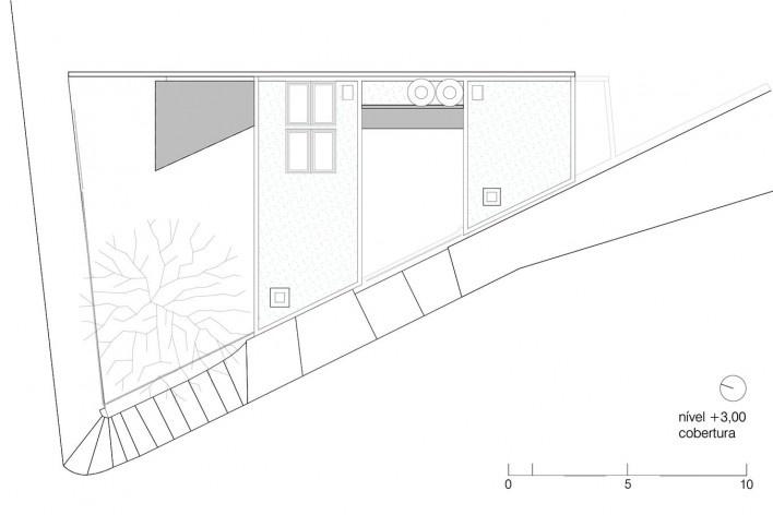 Casa da Lagoa, roof floor plan, Florianópolis SC Brasil, 2019. Architects Francisco Fanucci and Marcelo Ferraz / Brasil Arquitetura<br />Imagem divulgação  [Acervo Brasil Arquitetura]