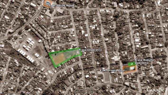 Vista aérea - Praça Imperatriz, Praça Rodolfo Quaresma, E. M. Osires Neves e E. M. Ornélia Lippi<br />Imagem dos autores do projeto