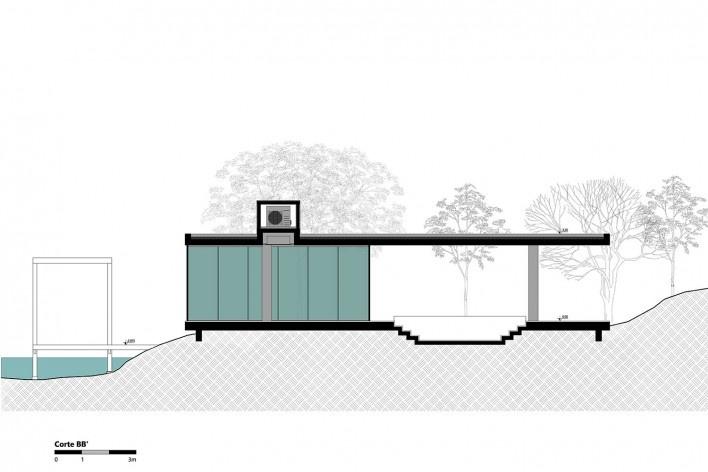 Kiosk EL165, section BB, Gravataí RS Brasil, 2016. Architects Diego Brasil and Anderson Calvi / Br3 Arquitetos<br />Imagem divulgação / disclosure  [Br3 Arquitetos]