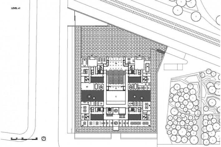 Câmara de Comércio e Artesanato de Hauts-de-France, planta primeiro pavimento, Lille, França, 2019. Escritórios Kaan Architecten e Pranlas-Descours Architect & Associates<br />Imagem divulgação  [Kaan Architecten / Pranlas-Descours Architect & Associates]