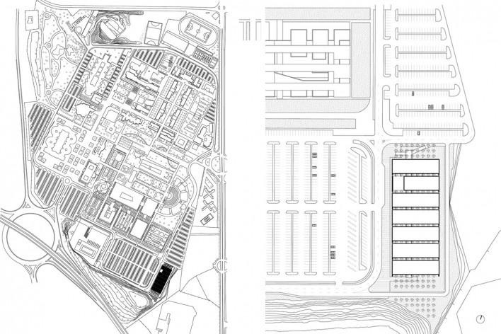 Aulário 3 (unidade de Alicante), planta situação e implantação, San Vicente del Raspeig, Alicante, Espanha, 2000. Arquiteto Javier Garcia-Solera<br />Imagem divulgação  [Acervo Javier Garcia-Solera]