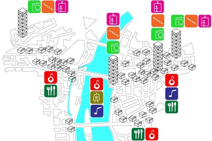 Diagrama de uso do centro histórico de Praga<br />Desenho Márcio Correia Campos