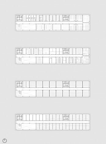 Planta 3°, 4°, 5° e 6° Pavimento – Atividades dos Cursos (Gabinetes Docentes, Salas de Aula, Laboratórios, Salas de Música e Ateliês)