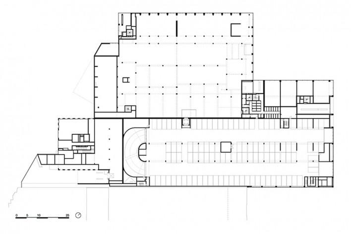 Bottière Chénaie, mezzanine floor plan, Nantes, France, 2019. Architects Kees Kaan, Vincent Panhuysen, Dikkie Scipio (authors) / Kaan Architecten<br />Imagem divulgação/ disclosure image/ divulgation  [Kaan Architecten]