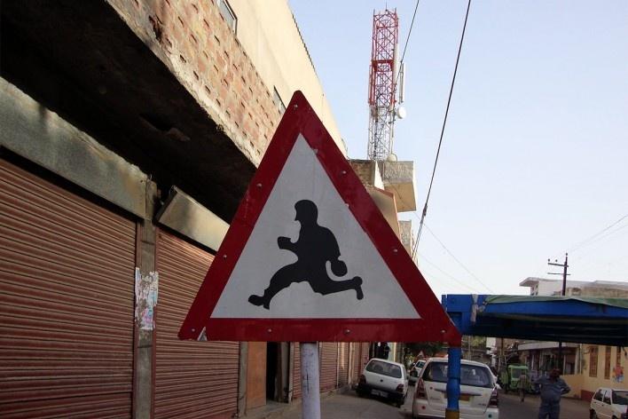 Placa em Jaipur, Índia<br />Foto Michel Gorski