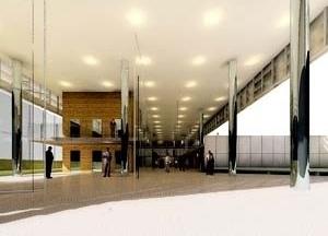 Vista geral do hall de entrada<br />Imagem dos autores do projeto
