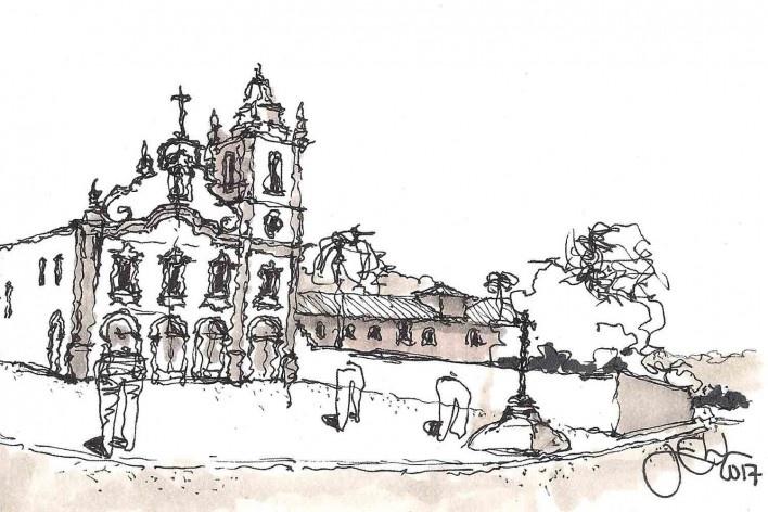 Casario e Conjunto Franciscano, Marechal Deodoro/AL<br />Desenho José Clewton do Nascimento