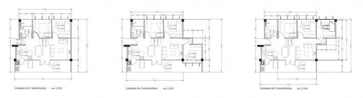 Plantas das unidades. Concurso Habitação para Todos. CDHU. Edifícios de 6/7 pavimentos - 2º Lugar.<br />Autores do projeto  [equipe premiada]