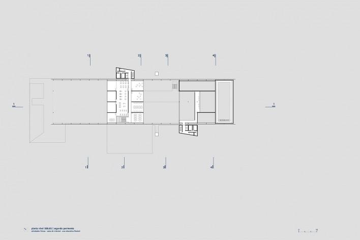 Sesc Limeira, planta segundo pavimento, 2017. Arquitetos Alvaro Puntoni, João Sodré, José Paulo Gouvêa e Pedro Mendes da Rocha / Grupo SP + JPG.ARQ + Pedro Mendes da Rocha