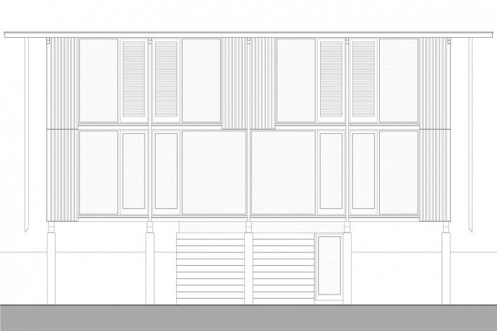 Vila Taguaí, elevação das casas 2, 5 e 7, Carapicuiba SP, 2007-2010. Arquitetos Cristina Xavier (autora), Henrique Fina, Lucia Hashizume e João Xavier (colaboradores)