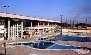 SESC Araraquara. Foto das piscinas<br />Imagem dos autores do projeto