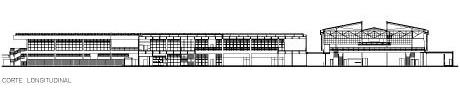 SESC Araraquara. Corte longitudinal<br />Imagem dos autores do projeto