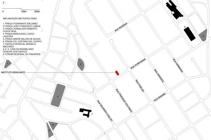 Instituto Brincante, implantação escala urbana, São Paulo SP, 2016, escritório Bernardes Arquitetura<br />Imagem divulgação