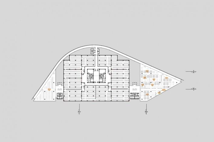 Concurso Anexo da Biblioteca Nacional, planta pavimento 2, Rio de Janeiro, 2º lugar, arquitetos Eduardo de Almeida, Helena Ayoub, Cesar Shundi Iwamizu<br />Imagem divulgação