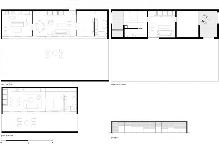 Caledonian Somosaguas, plantas térreo e segundo pavimento e elevação [tipologias 5 e 6], Madri Espanha, 2017. Arquiteto Marcio Kogan/ StudioMK27<br />Imagem divulgação  [Studio MK27]