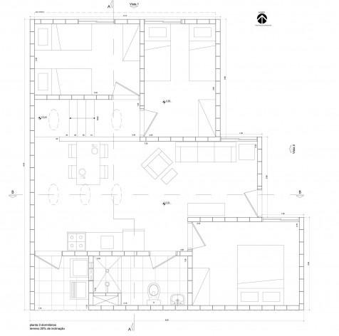 Planta com 3 dormitórios (terreno com 20% de inclinação).Concurso Habitação para Todos CDHU. Casas escalonadas - Menção honrosa.<br />Autores do projeto  [equipe premiada]