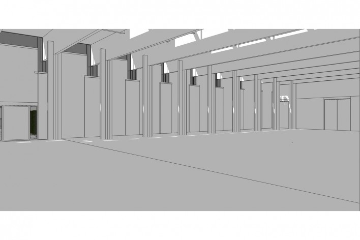 Saint Catherine's College, vista lateral do refeitório, com sombras, Oxford, Inglaterra, 1959-1964, arquiteto Arne Jacobsen<br />Modelo tridimensional de Edson Mahfuz e Ana Karina Christ