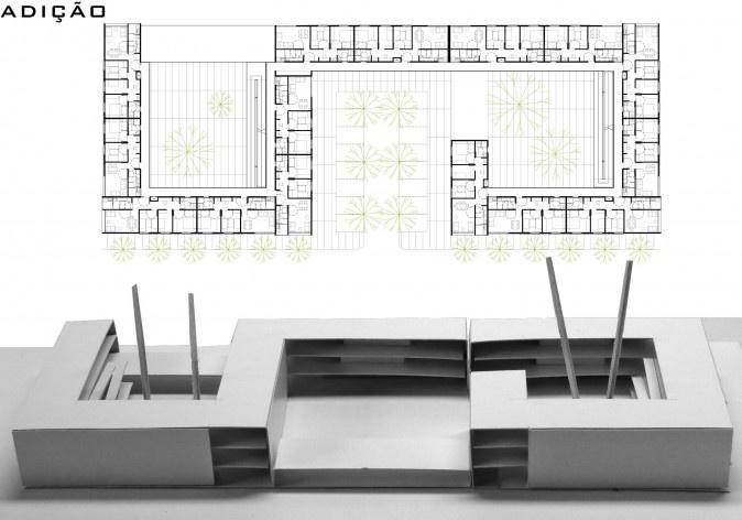 Módulos adicionados. Concurso Habitação para Todos - CDHU. Edifícios de 3 pavimentos - 1º Lugar.<br />Autores do projeto  [equipe vencedora]