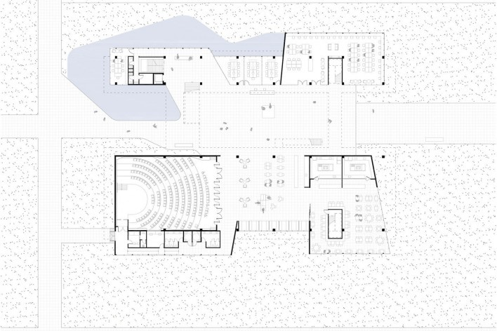 Ágora Tech Park, planta térreo, Joinville SC Brasil, 2019. Arquitetos Marcus Vinicius Damon, Guilherme Bravin e Andressa Diniz / Estúdio Módulo<br />Imagem divulgação  [Estúdio Módulo]