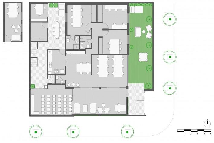 Wikilab Coworking, planta baixa com configuração de auditório de 30 pessoas, São Carlos, 2016. Arquiteto José Calijuri Hamra<br />Imagem divulgação