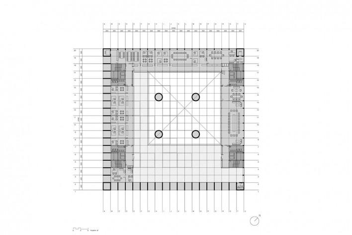 Caja Granada, planta sexto pavimento, Granada, Andaluzia, Espanha, 2001. Arquiteto Alberto Campo Baeza<br />Imagem reprodução / imagen reproducción  [Website campobaeza.com]