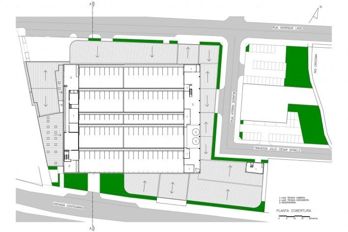 Supermercado Angeloni, planta da cobertura, Criciúma, 1976-1978 (original) e 2009-2011 (reforma e ampliação). Douglas Piccolo Arquitetura