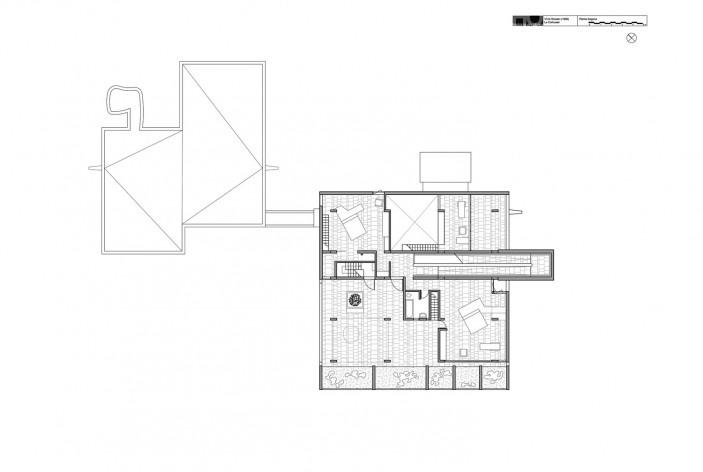 Casa Shodhan, planta segundo pavimento, Ahmedabad, Gujarat, Índia, 1951-56. Arquiteto Le Corbusier<br />Reprodução/reproducción  [website historiaenobres.net]