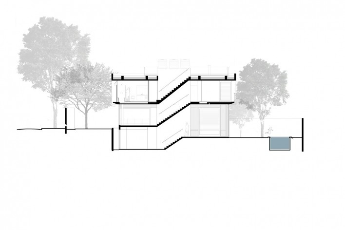 Casa Villa Lobos, corte bb, 2018, São Paulo SP Brasil. Arquitetos Cristiane Muniz, Fabio Valentim, Fernanda Barbara e Fernando Viégas/ Una Arquitetos<br />Imagem divulgação  [Acervo Una Arquitetos]