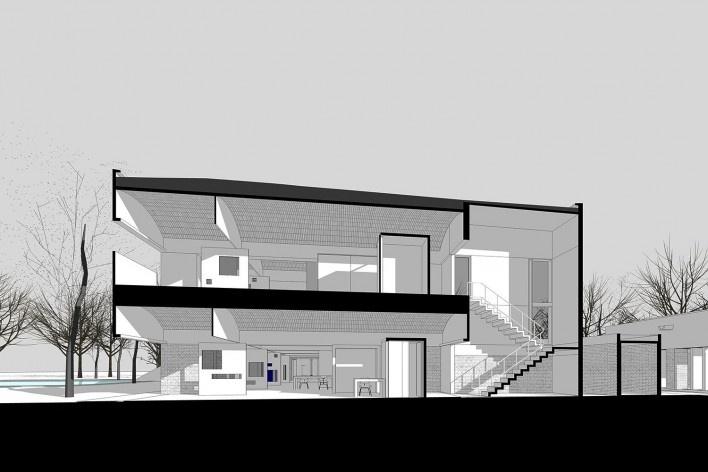 Casa Sarabhai, corte, Shadibag, Ahmedabad, India, 1952-55. Arquiteto Le Corbusier<br />Modelo tridimensional Matheus Bragagnolo / Imagem Edson Mahfuz