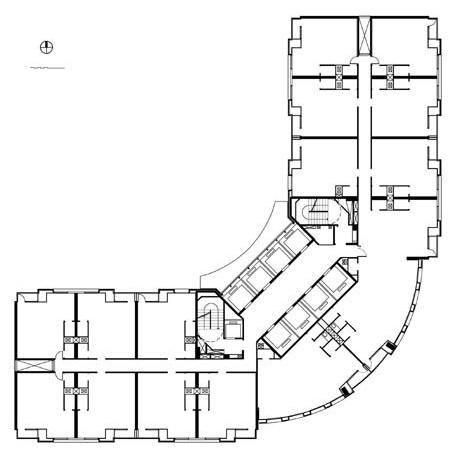 Planta tipo do Edifício de Escritórios Empresariais<br />Imagem dos autores do projeto