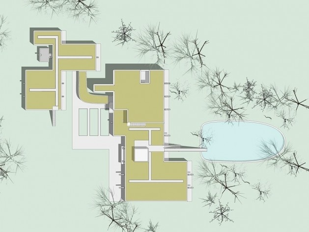 Casa Sarabhai, planta cubierta, Shadibag, Ahmedabad, India, 1952-55. Arquitecto Le Corbusier<br />Elaboração Edson Mahfuz