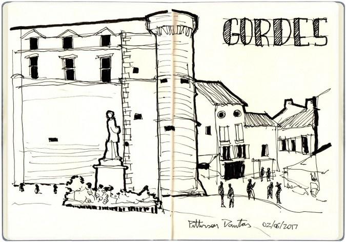 Vilarejo de Gordes, França<br />Desenho de Petterson Dantas