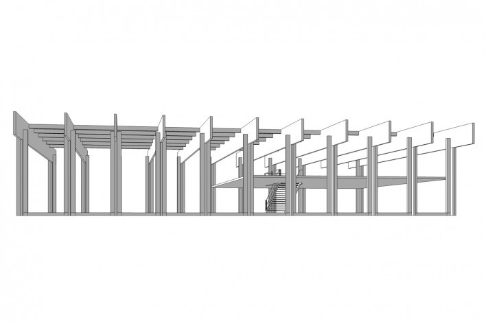 Saint Catherine's College, estrutura do auditório, Oxford, Inglaterra, 1959-1964, arquiteto Arne Jacobsen<br />Modelo tridimensional de Edson Mahfuz e Ana Karina Christ