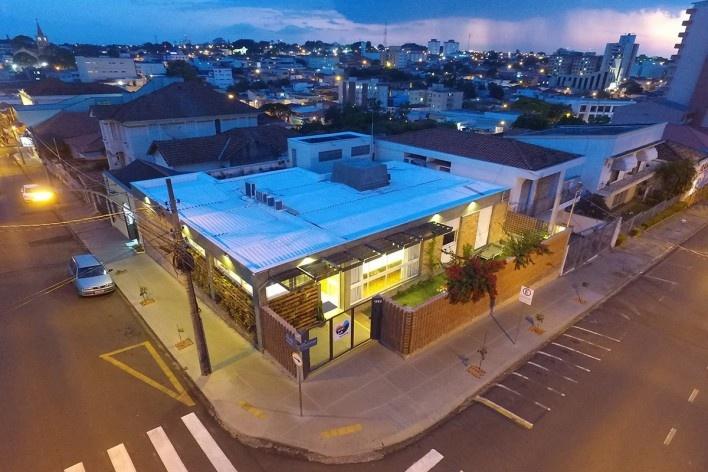 Wikilab Coworking, vista aérea, São Carlos, 2016. Arquiteto José Calijuri Hamra<br />Foto divulgação