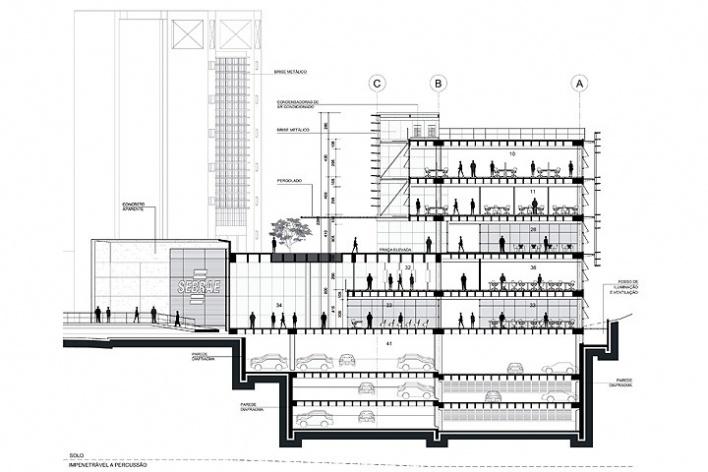 Centro de Referência em Empreendedorismo do Sebrae-MG, corte transversal, 2º lugar. Arquiteto Francisco Spadoni, 2008<br />Desenho escritório