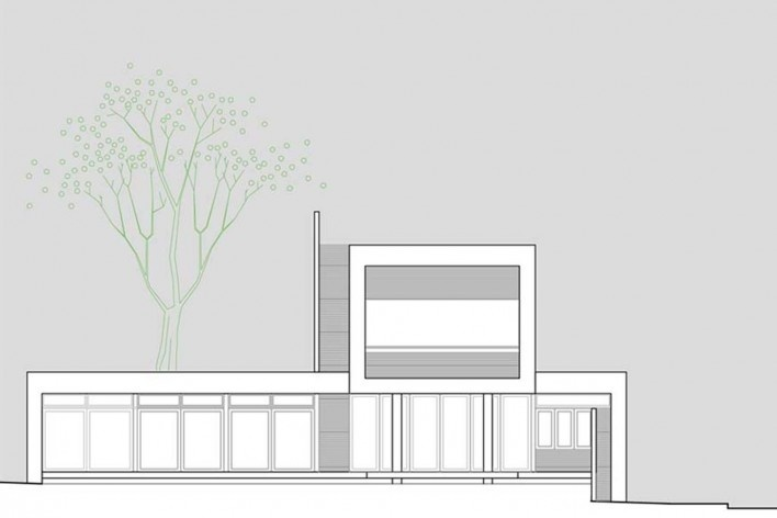 Arquiteto Fabiano Sobreira. Casa da Copaíba, Brasília, 2012. Elevação leste