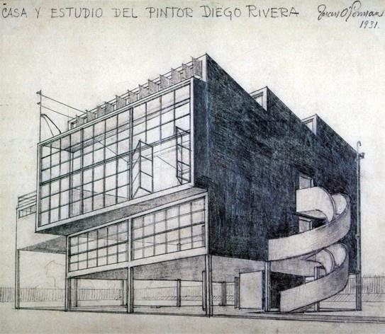 Casa-estúdio de Diego Rivera, Cidade do México, 1931. Desenho do arquiteto Juan O'Gorman <br />Foto Victor Hugo Mori