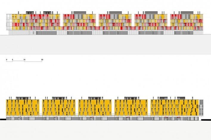 Conjunto Habitacional Fira de Barcelona – L'Hospitalet de Llobregat, fachadas sul e norte do conjunto, Barcelona 2009. ONL Arquitectura<br />Imagem divulgação