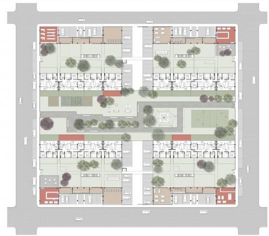 Planta da quadra. Concurso Habitação para Todos. CDHU. Edifícios de 6/7 pavimentos - 2º Lugar. <br />Autores do projeto  [equipe premiada]