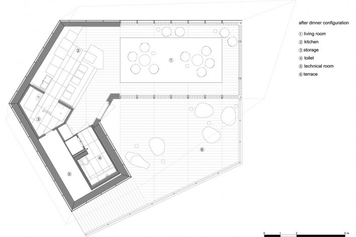 Plan, after dinner configuration. The Cube, Park Associati. Brussels, 2011<br />image release