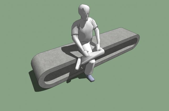 Modelo 3D - Banco bola<br />Imagem dos autores do projeto