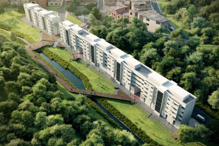Projeto de edifício misto e parque do córrego<br />Fonte Boldarini Arquitetos Associados