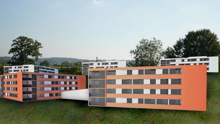 Imagem conjunto. Concurso Habitação para Todos - CDHU. Edifícios de 3 pavimentos - 1º Lugar.<br />Autores do projeto  [equipe vencedora]