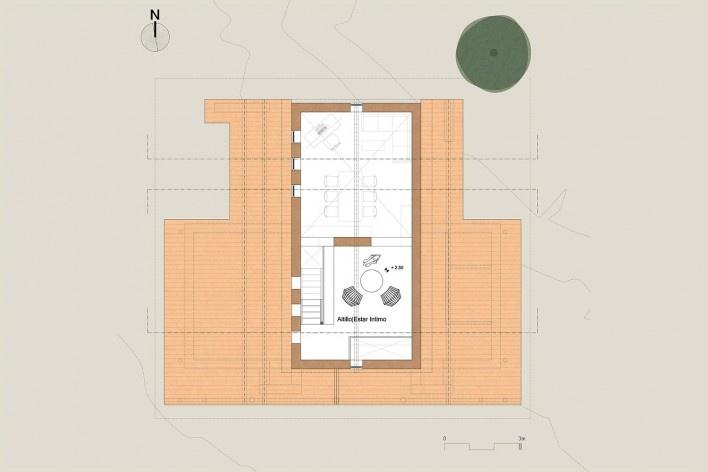 Vivienda T, planta alta, Tarija, Bolivia, 2020. Arquitecto Mechthild Kaiser; colaborador Mauricio Méndez / Estudio de arquitectura y Planificación Kaiser<br />Imagen divulgacíon  [Estudio de arquitectura y Planificación Kaiser]