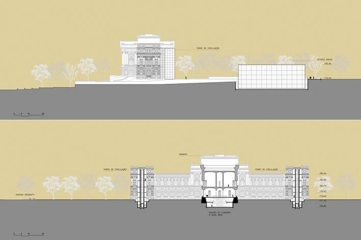 Ampliação do Museu Paulista da USP (Museu do Ipiranga), cortes CC e DD. Arquitetos Eduardo Colonelli e Silvio Oksman, 2008<br />Imagem escritório